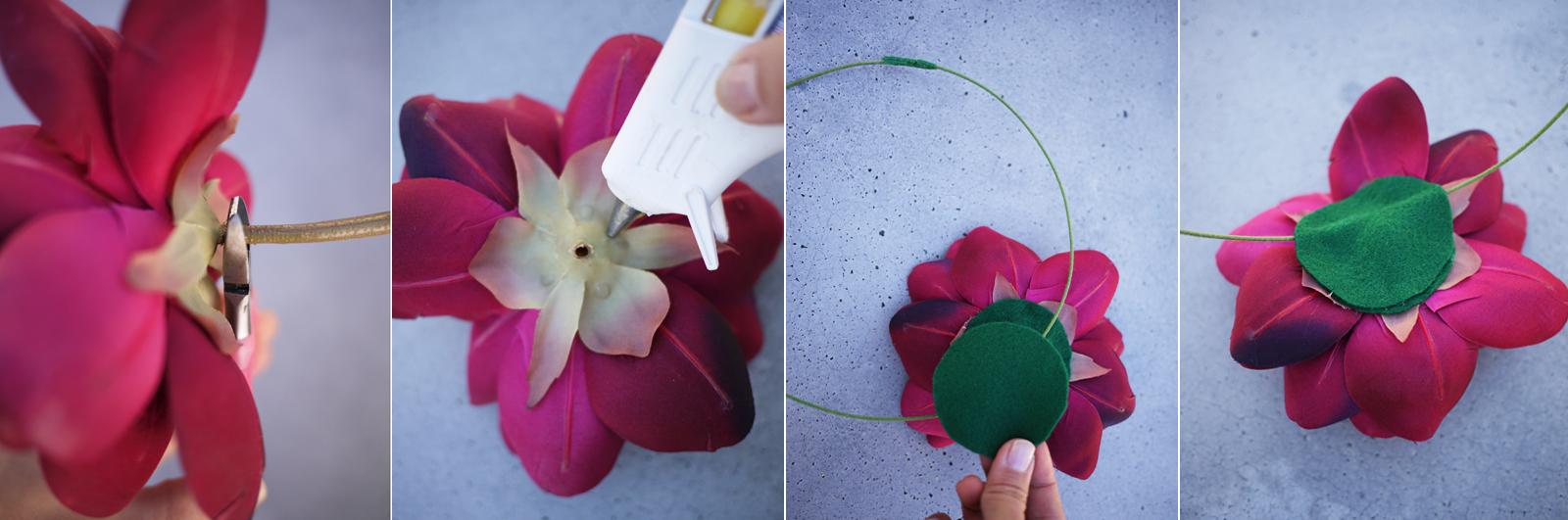 Сделать цветы на голову