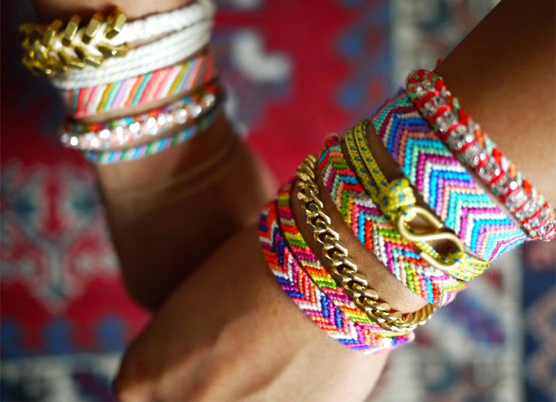Choose your colours Narrow style 5 colour diagonally striped friendship bracelet