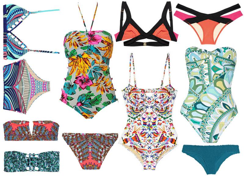 f4c755abda643 (top image clockwise from top left: Mara Hoffman King Tut Bikini $200, Marc  by Marc Jacobs Havana Swimsuit $190, Agent Provocateur Mazzy Triangle Top  $220, ...