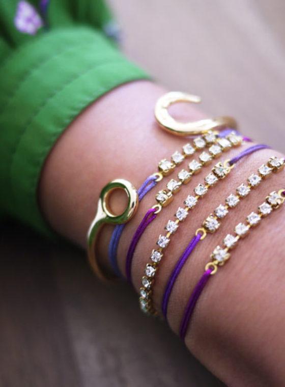 DIY Rhinestone Sliding Knot Bracelet