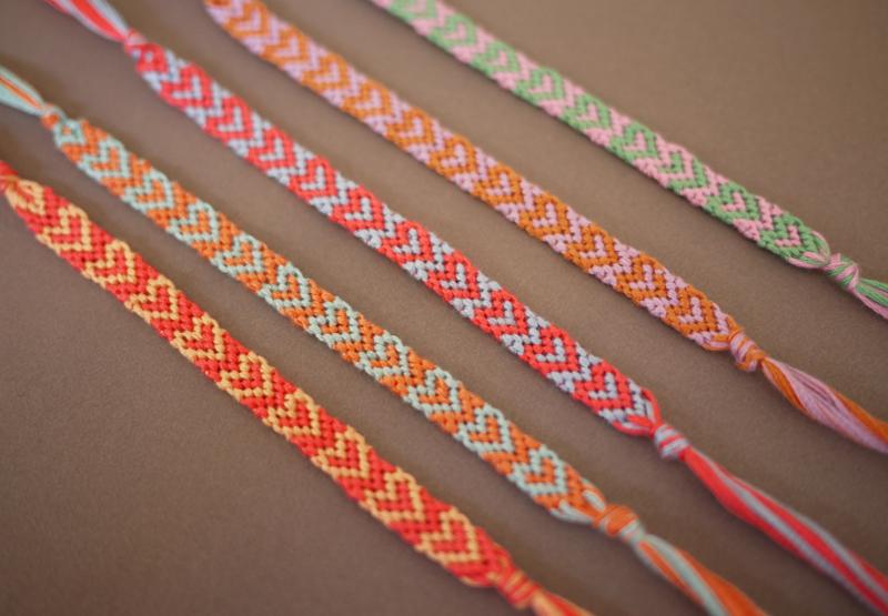 Heart Patterned Friendship Bracelets Done Hy