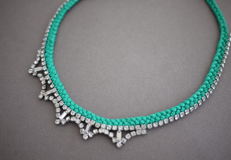 DIY Braided Rhinestone Necklace - Diy braided necklace