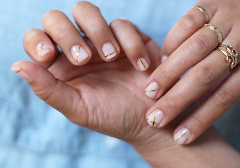goldstripednails1 - DIY Gold Striped Nails – Honestly WTF