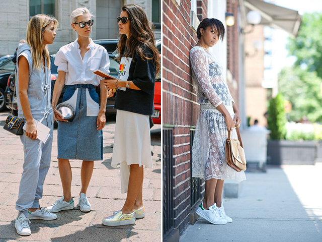 (Adidas Stan Smiths available here, here and here; images from Street Style Seconds, Street Style Seconds, Street Style Seconds, Street Style Seconds, ...