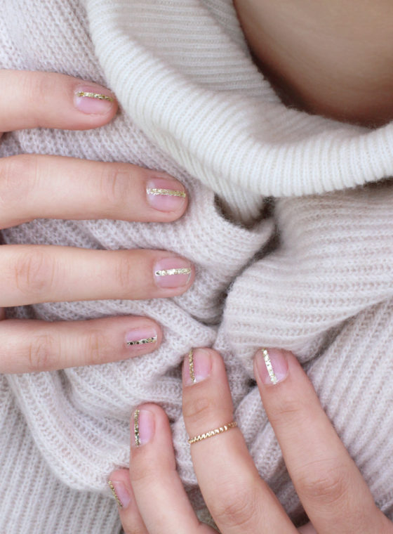 DIY Delpozo Gold Striped Nails