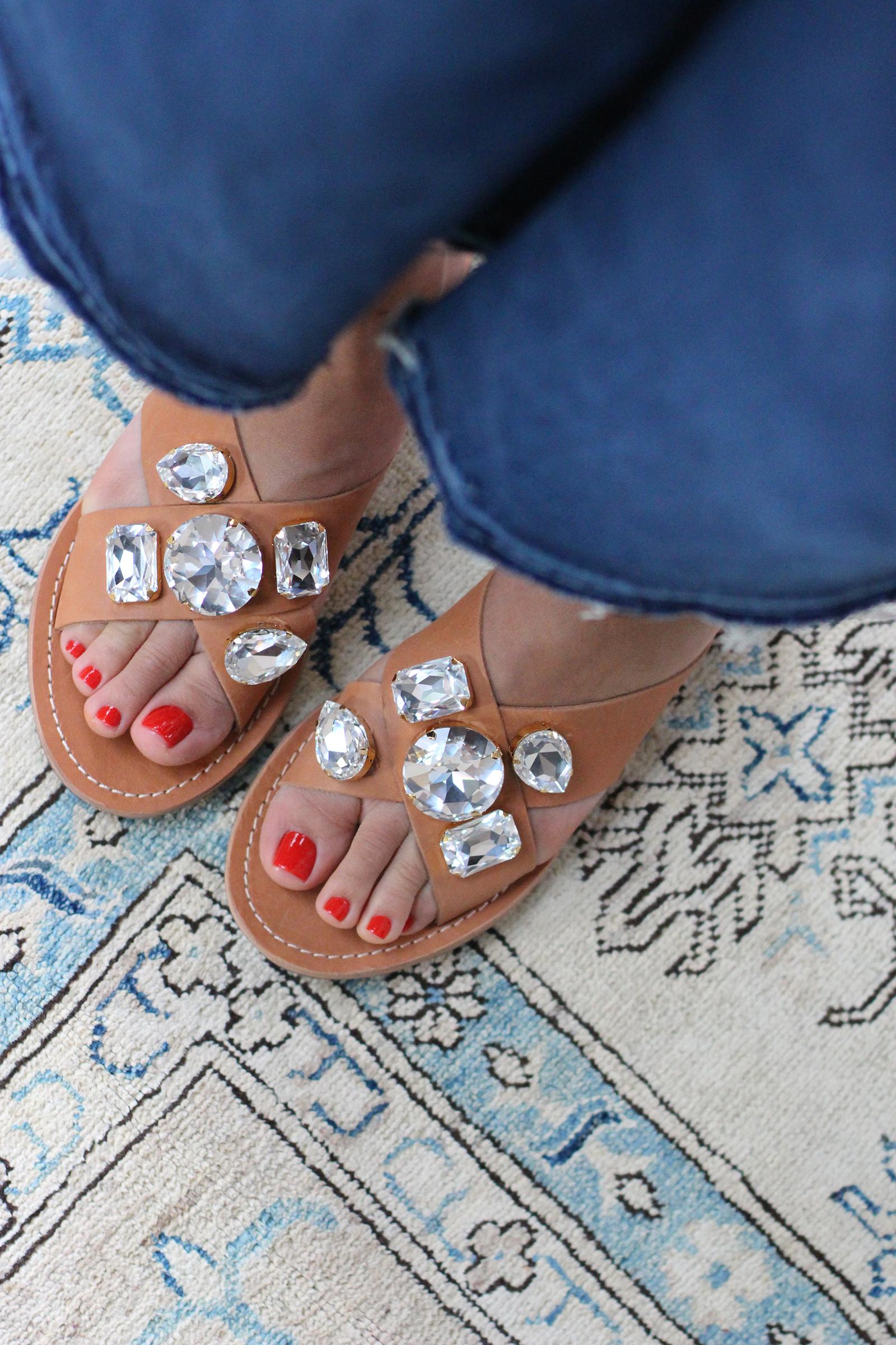 eef78c282 DIY Jeweled Sandals – Honestly WTF
