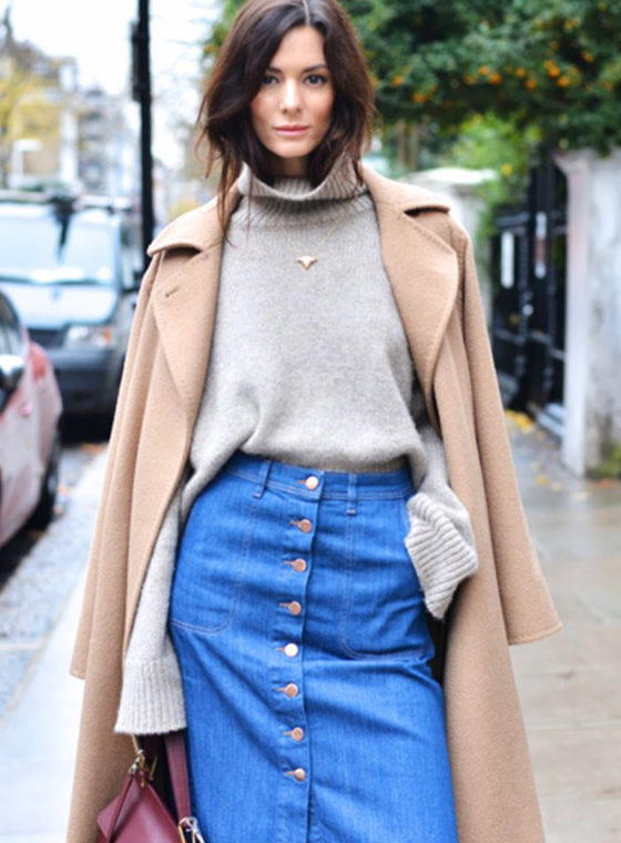 Spotted: Denim Button Front Skirts