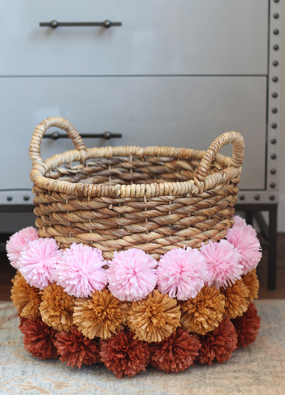 diy pom pom basket honestly wtf. Black Bedroom Furniture Sets. Home Design Ideas