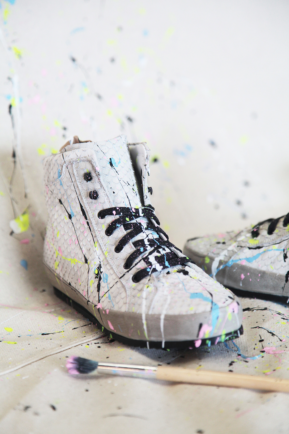 diy paint splattered shoes with freda salvador