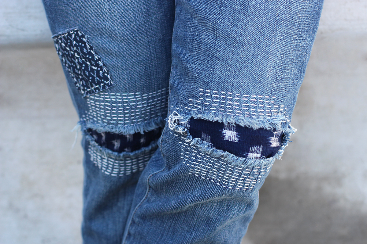 stitched denim