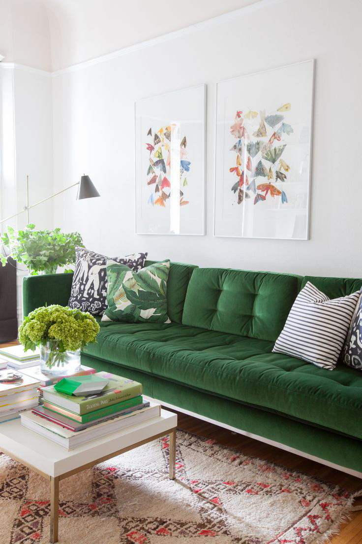 The great green sofa for Couch living room ideas