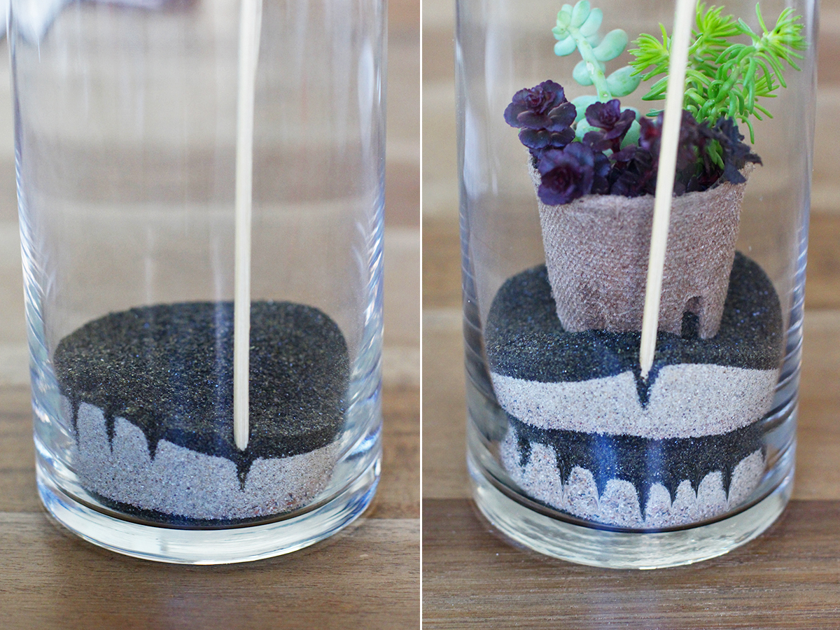 When creating your sand art, just remember that mistakes are a good thing!  You might surprise yourself at the patterns you'll end up with. - HWTF X Makers Kit DIY Sand Art Terrarium