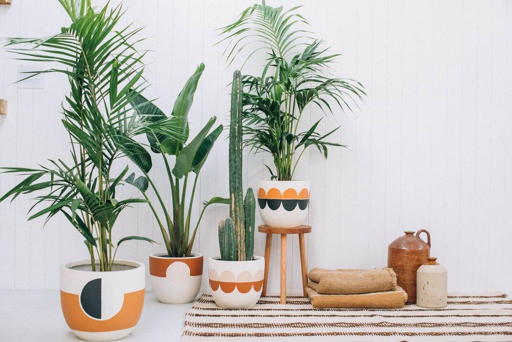 pot en terre cuite décoré