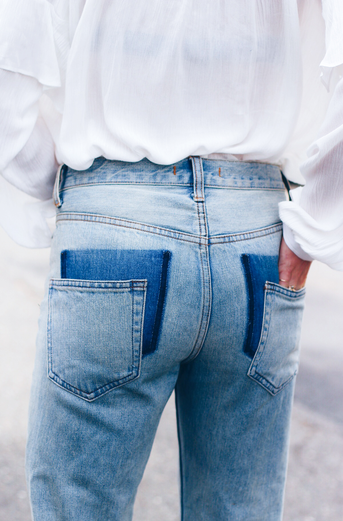 Джинсы с перешитыми карманами