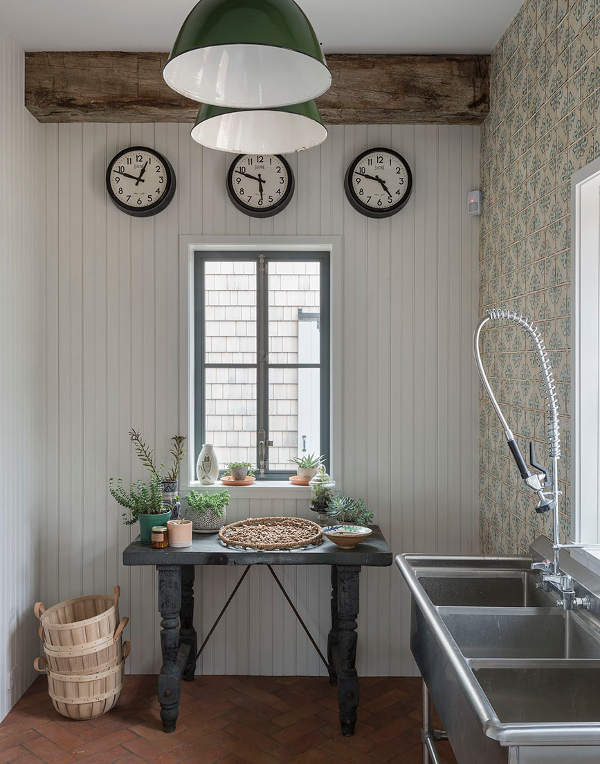 Rustic modern mudroom with Moroccan tiled wall, stainless commercial sink with sprayer, and #modernfarmhouse details