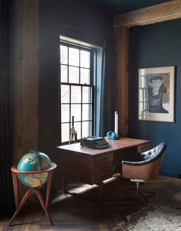 Deep blue green teal walls in a masculine space with rustic elegance, wood beams, and a moody vibe