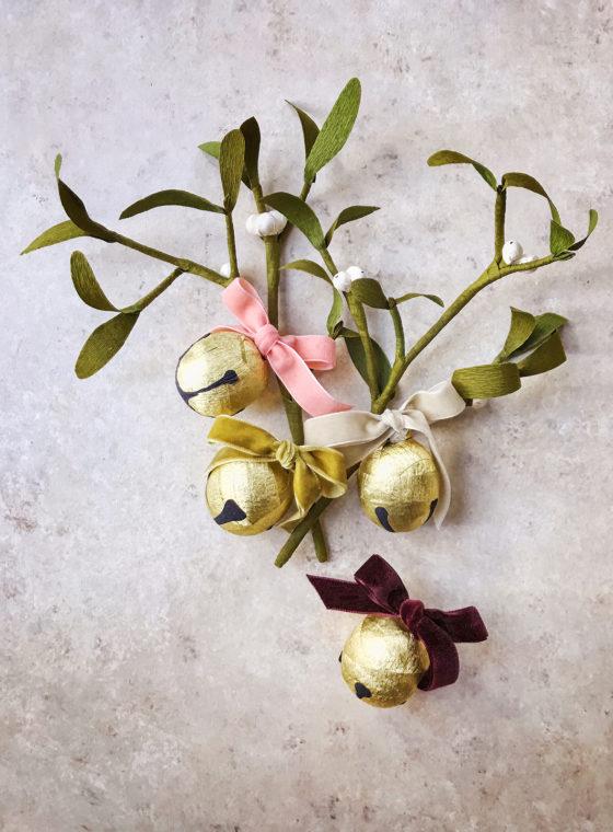 DIY Sleigh Bell + Mistletoe Present Topper