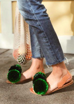 DIY Raffia Pom Pom Sandals