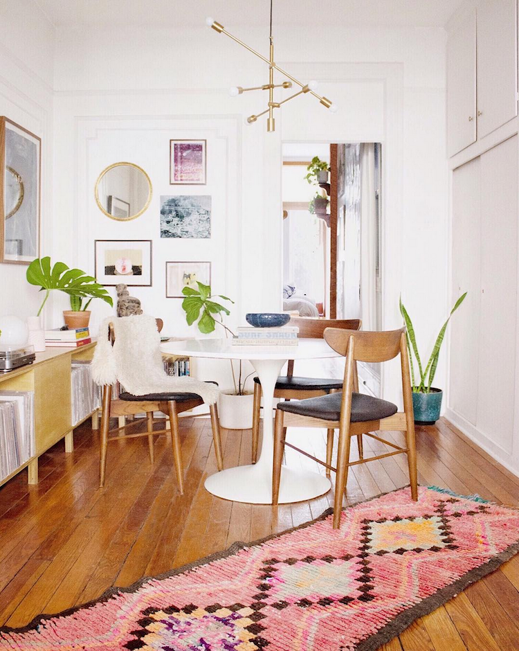 Midcentury boho dining room by Mallory Fletchall.