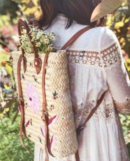DIY Embroidered Straw Bag