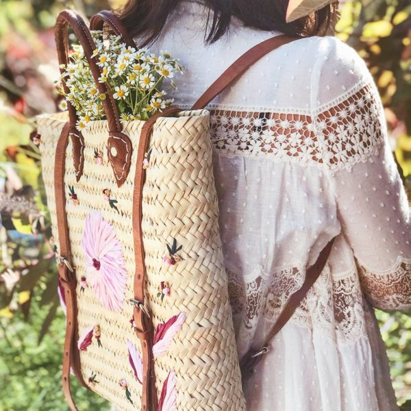DIY Embroidered Straw Bag