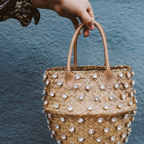 DIY Crystal Studded Straw Bag