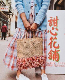 DIY Raffia Fringe Straw Bag
