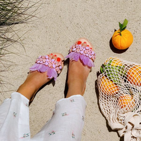 DIY Jeweled Feather Sandals