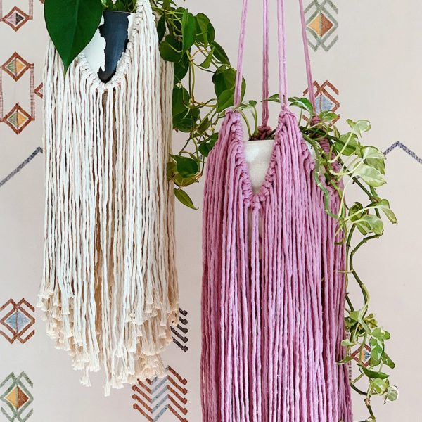 DIY Fringed Macrame Plant Hanger