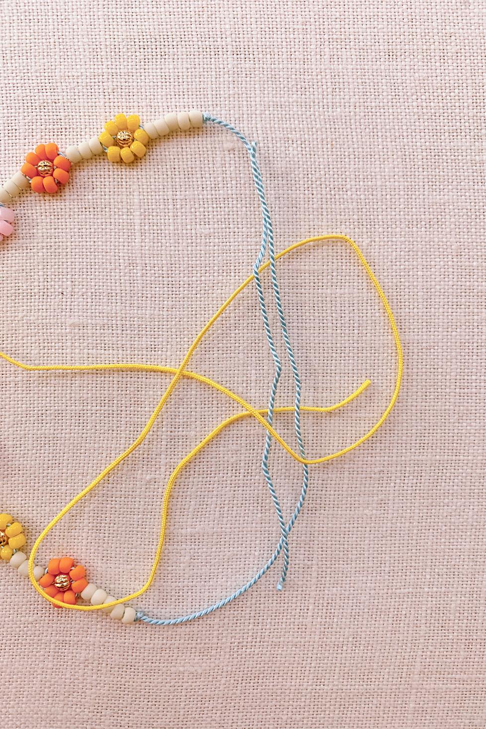 bell bracelet Daisy chain Gemstone and brass beaded bracelet hippie bracelet