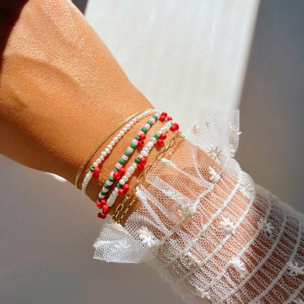 DIY Beaded Cherry Bracelet